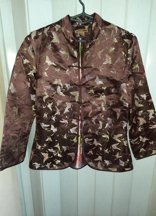 Интересный жакет пиджак шелк и вискоза бабочки