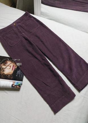 Вельветовые кюлоты/штаны/брюки высокая посадка хлопок