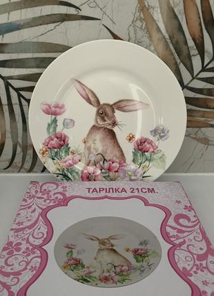 Lefard тарелка из кроликом - зайцем в коробке диаметр 21 см