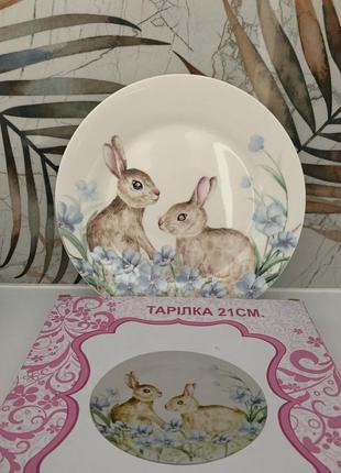 Lefard тарелка из кроликами - зайцами в коробке диаметр 21 см
