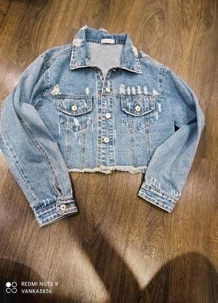 Укорочена джинсовка куртка джинс