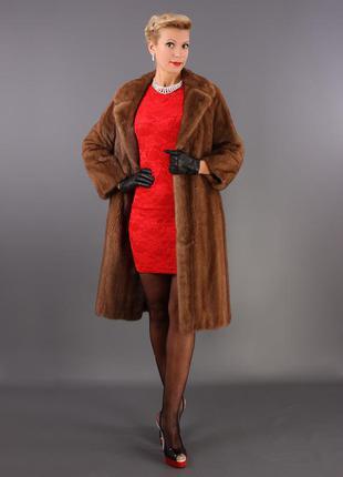 Норковое пальто. шуба италия! saga furs классика модель 2017 цвет соболь 46р.1