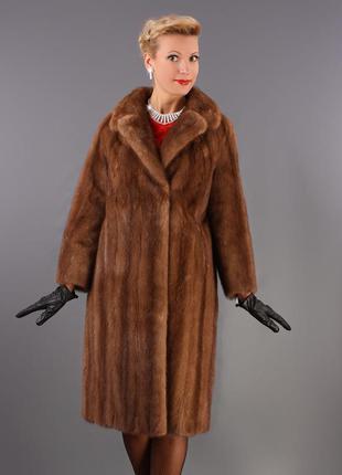 Норковое пальто. шуба италия! saga furs классика модель 2017 цвет соболь 46р.2