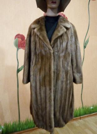 Норковое пальто. шуба италия! saga furs классика модель 2017 цвет соболь 46р.4