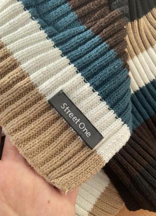 Полосатый винтажный тёплый шарф street one3 фото