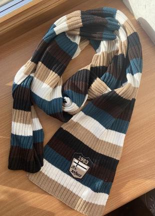 Полосатый винтажный тёплый шарф street one