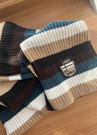 Полосатый винтажный тёплый шарф street one2 фото