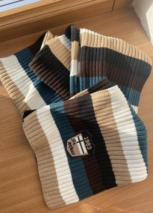Полосатый винтажный тёплый шарф street one4 фото