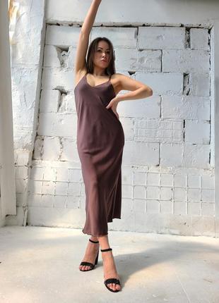 🔥 шикарное шелковое платье комбинация шоколад