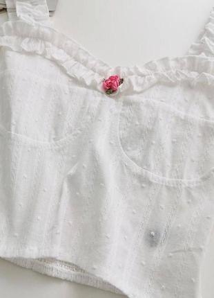 Летний хлопковый топ бюстье с розочкой нежный короткий