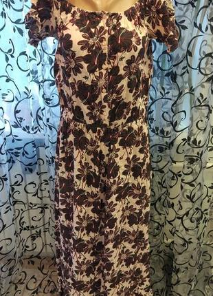 Платье длинное в пол 16размер цветочное