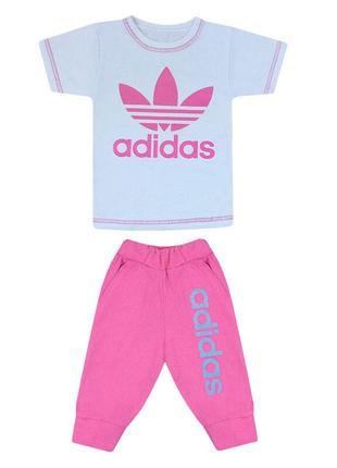 Комплект літній футболка+бріджі для дівчинки з принтом adidas кулір