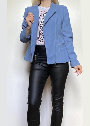 Голубая косуха тканевая короткая женская куртка ветровка пог 51 см