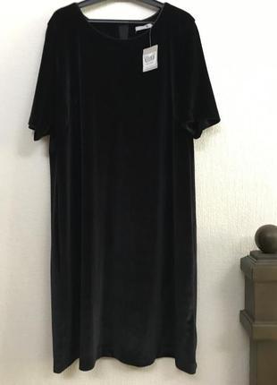 Tu черное нарядное платье из бархата р 48 - 50 ( uk 16)