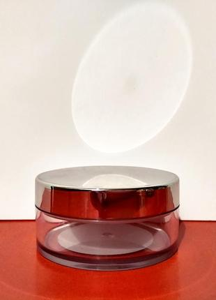 Пудреница для рассыпчатой пудры пустая с блокировкой прозрачная с зеркальной крышкой