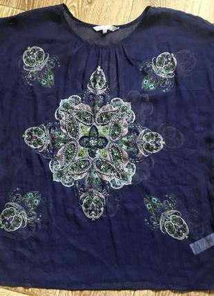 Шифоновая блуза с принтом и бисером