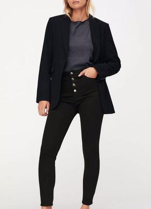 Бомбовые джинсы zara с высокой талией и пуговицами