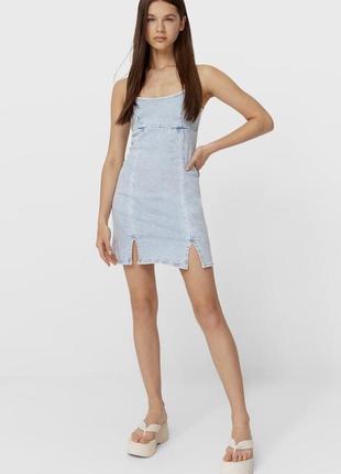 Платье джинсовое мини сарафан облегающий деним stradivarius оригинал