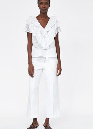 Zara оригинал блуза прошва решилье хлопок