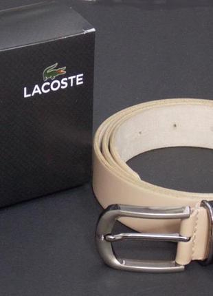 Мужской бежевый кожаный ремень lacoste