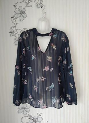 Шикарная блузка с чокером и объемным рукавом