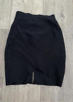 Бандажная черная юбка в обтяжку карандаш офис школьная