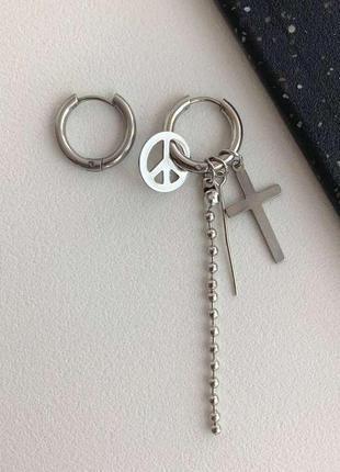Сережки з хрестом, пірсинг пацифік ланцюжок нержавіюча сталь, cерьги кольца крест
