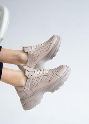 Женские кроссовки кожаные летние бежевые, emirro жсс 18-505