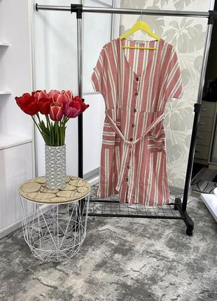 Стильное платье в полоску из натуральной ткани, с карманами, р. 22.