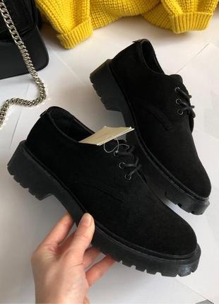 Новые крутые замшевые туфли cropp (броги, дерби, оксфорды)