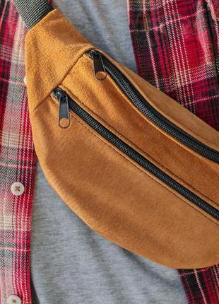 Компактная летняя бананка из натуральной замши рыжая сумка на пояс или плече б6