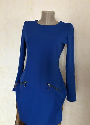 Платье туника синее длинный рукав мини короткое