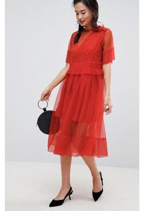 Платье миди со сборками asos