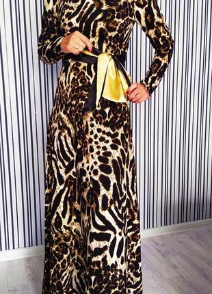Длинное платье с леопардовым принтом