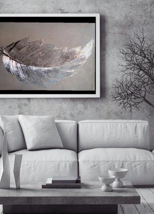 Текстурная картина« серебристое перо »