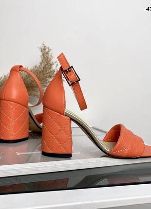 Босоножки // сh@nel, оранжевый, натуральная кожа