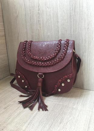 Сумка бохо сумочка с кисточками марсала белый розовый