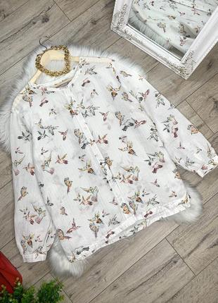 Льняная блуза с принтом