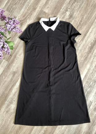 Чёрное платье-трапеция с воротником, одето 1 раз!!