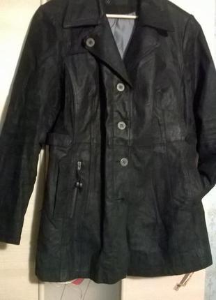 Кожаная куртка полупальто р. 16 - 18 для пышной модницы натуральная кожа