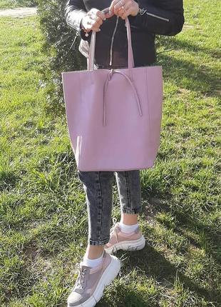 Сумка шоппер кожаная белая розовая оранжевая черная италия