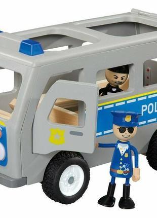 Игровой деревянный набор полицейский автобус playtive police car полиция c фигурками