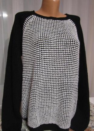 Свитер-оверсайз, чёрно-белый свитер. 1+1= 50% скидки на 3ю вещь.
