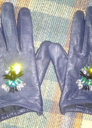 Кожаные эффектные перчатки atmosphere, укороченные с камнями