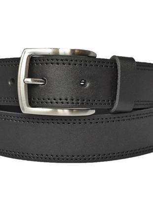 Кожаный мужской ремень черный со строчкой для джинсов superbelt5