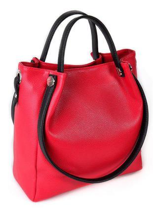 Красная сумка шоппер с черными вставками и двойными ручками