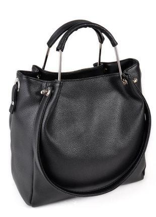 Женская вместительная сумка шоппер черная матовая с металлическими ручками