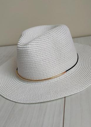 Белая соломенная пляжная шляпа, летняя федора, ковбойка , капелюх американка