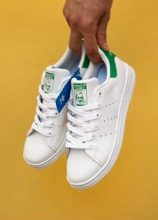 Легкие стильные кроссовки кеды adidas stan smith белые кожаные демисезонные