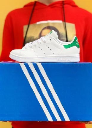 Легкие стильные кроссовки кеды adidas stan smith белые кожаные демисезонные6 фото